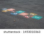 Old Worn Colorful Hopscotch...
