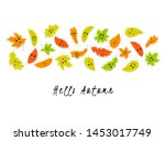 characters of autumn leaves.... | Shutterstock .eps vector #1453017749
