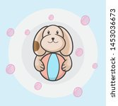 cute dog hold ball vector... | Shutterstock .eps vector #1453036673