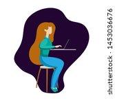 flat people woman using laptop... | Shutterstock .eps vector #1453036676
