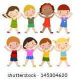 vertical group of children | Shutterstock .eps vector #145304620