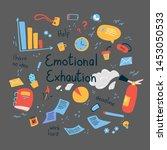 emotional burn out concept.... | Shutterstock .eps vector #1453050533