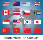 flags of the world against... | Shutterstock .eps vector #145306084