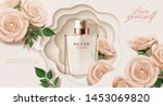 elegant perfume ads with paper... | Shutterstock .eps vector #1453069820