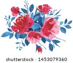 red and blue watercolor flower... | Shutterstock . vector #1453079360