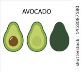 set of avocado illustrations... | Shutterstock .eps vector #1453087580
