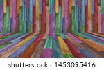 colorful painted wood texture... | Shutterstock . vector #1453095416