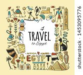 travel to egypt. greeting card... | Shutterstock .eps vector #1453095776