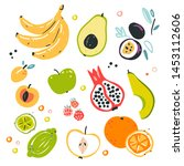 fruit collection in flat hand...   Shutterstock .eps vector #1453112606