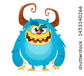 Stock photo angry cartoon monster halloween vctor blue and horned monster yeti or bigfoot character 1453140266