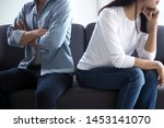 Small photo of Couples are bored, stressed, upset and irritated after quarreling. Family crisis and relationship problems that come to an end
