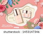 cosmetic set ads with paper... | Shutterstock .eps vector #1453147346
