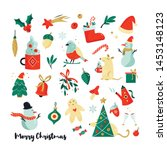 set of christmas holiday... | Shutterstock .eps vector #1453148123