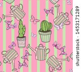 cute wallpaper with cactus  ... | Shutterstock .eps vector #1453171289