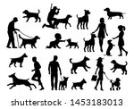 Stock vector set dog and people silhouette vector black flat icon isolated on white background 1453183013
