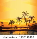 vector travel banner with... | Shutterstock .eps vector #1453193420