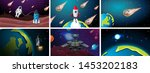 set of earth  rocket and...   Shutterstock .eps vector #1453202183
