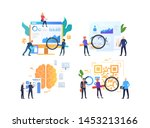 set of people analyzing data.... | Shutterstock .eps vector #1453213166