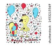 happy birthday card colorful... | Shutterstock .eps vector #1453215569