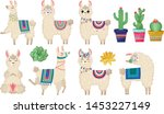 llama vector illustration.set... | Shutterstock .eps vector #1453227149