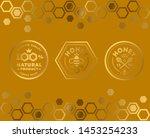 vector honey vintage logo and...   Shutterstock .eps vector #1453254233