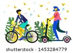 man riding bicycles and woman... | Shutterstock .eps vector #1453284779
