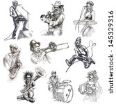 musicians   collection of an... | Shutterstock . vector #145329316