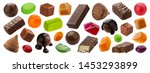 Small photo of Various jelly candies, caramel, lollipops isolated on white background with clipping path. Different whole and broken dragee set, chocolate covered sweets, delicious confectionery collection