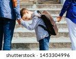 parents taking child to school. ...   Shutterstock . vector #1453304996