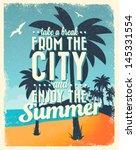 retro vintage summer poster... | Shutterstock .eps vector #145331554