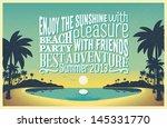 retro vintage summer poster... | Shutterstock .eps vector #145331770
