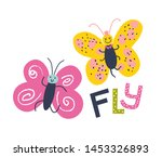 cute butterfly with fly... | Shutterstock .eps vector #1453326893