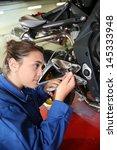 student girl in motorbike... | Shutterstock . vector #145333948