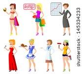 set of cartoon women.... | Shutterstock . vector #145334233