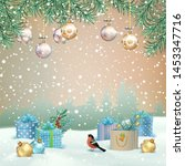 christmas winter scene. vector... | Shutterstock .eps vector #1453347716