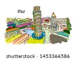 leaning tower of pisa  italy.... | Shutterstock .eps vector #1453366586