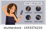 types of hair problem  alopecia ... | Shutterstock .eps vector #1453376210