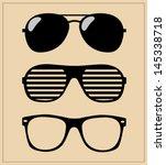 Set Of Sunglasses. Vector...