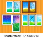 set of window templates with... | Shutterstock . vector #145338943