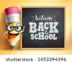 back to school text with pencil ... | Shutterstock .eps vector #1453394396
