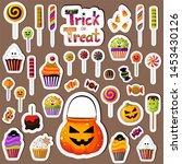 stickers set of halloween... | Shutterstock .eps vector #1453430126