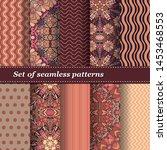 set of trendy seamless floral... | Shutterstock .eps vector #1453468553