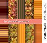 set of trendy seamless floral... | Shutterstock .eps vector #1453468643