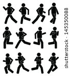 silhouettes of runners icon... | Shutterstock .eps vector #145350088
