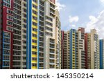 a group of high rise colorful... | Shutterstock . vector #145350214
