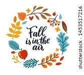 vector autumn wreath with... | Shutterstock .eps vector #1453517216