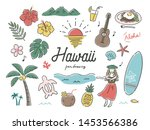 nature and hawaii set pen... | Shutterstock .eps vector #1453566386