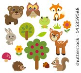 Stock vector cute forest animals 145359568