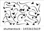 hand drawn arrow set . doodle... | Shutterstock .eps vector #1453615619