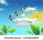 migrating birds flying on the... | Shutterstock .eps vector #145361890